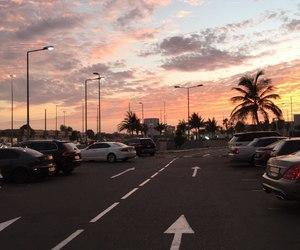 sky, sunset, and car image
