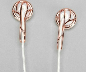 gold, earphones, and music image