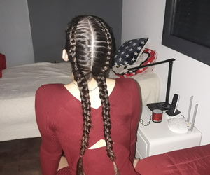 braids, dress, and red image