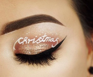 makeup, christmas, and winter image