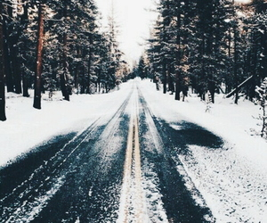 snow, winter, and road image
