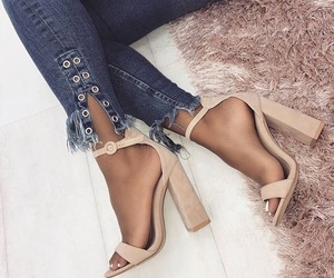 denim, heels, and lace up image
