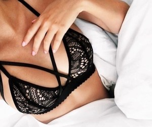 bed, bra, and lace image