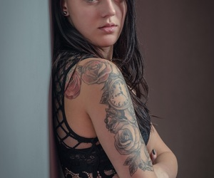 black hair, roses, and tattoo image