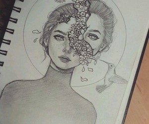 drawing, girl, and flowers image