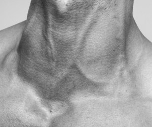 neck, boy, and black and white image