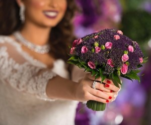 bride, flowers, and model image