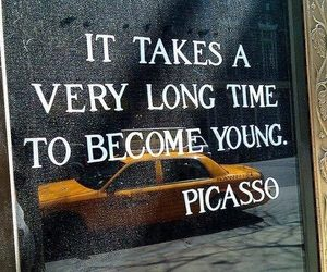 picasso, young, and quotes image