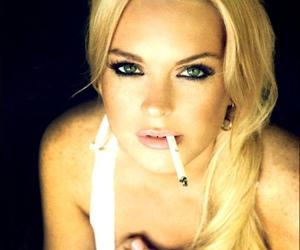lindsay lohan, cigarette, and smoke image