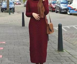 hijab, knitted dress, and winter image