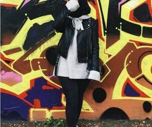 leather jacket with hijab image