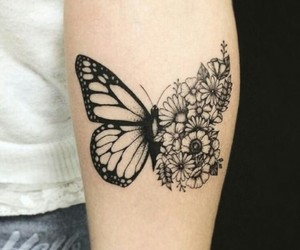 tattoo, butterfly, and flowers image