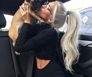 dog, girl, and black image