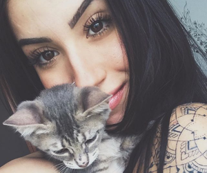 br, brunette, and cat image