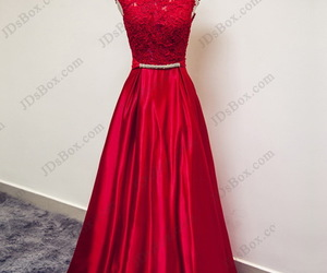 evening dress, lace, and red prom dress image