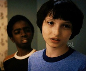 stranger things, mike wheeler, and lucas sinclair image