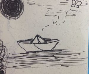 boat, sketch, and balckandwhite image