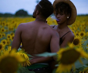 couple, love, and sunflower image