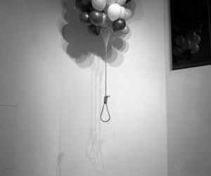 balloons, suicide, and black and white image