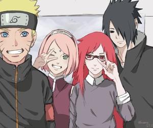 sasuke uchiha, team 7, and karin uzumaki image