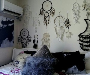 bedroom, bedroom decor, and black and white image