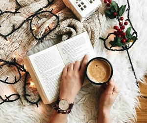 book, christmas, and coffee image