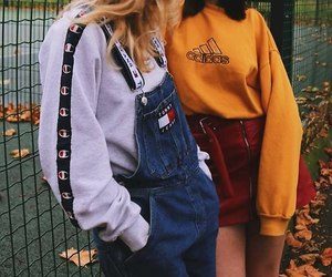 blue denim overalls, red leather skirts, and tommy hilfiger overalls image