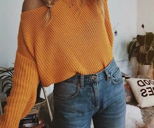 blue jeans, yellow sweaters, and yellow knit sweaters image