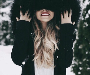 winter, girl, and snow image