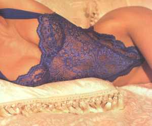 blue, lingerie, and women image
