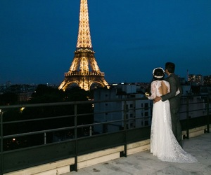beauty, dress, and eiffel tower image