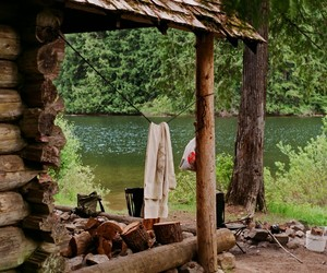 cabin, nature, and lake image