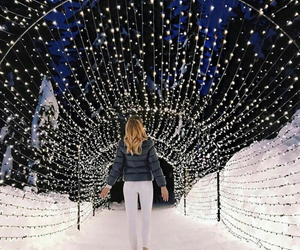 winter, girl, and light image