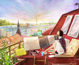 art, city, and daydream image