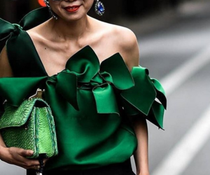 green top, one shoulder, and satin image