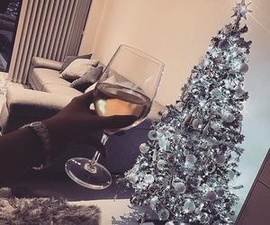 wine, xmastree, and xmas image