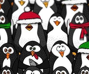 snow and pingvins image