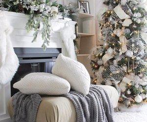 christmas tree, cone, and snow image