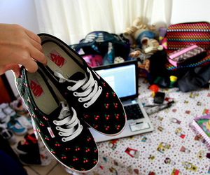 vans, cherry, and shoes image