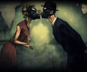 love, kiss, and gas mask image