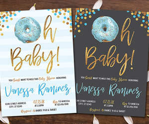 etsy, printable invitation, and donut baby shower image