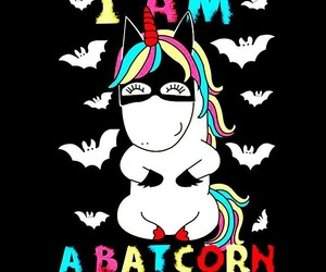 bat, rainbow, and unicorn image