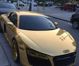 car, audi, and gold image