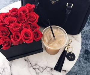 rose, bag, and coffee image