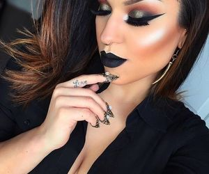 makeup, black, and brunette image