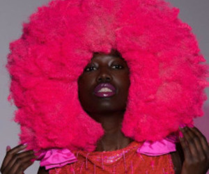Afro, cotton candy, and pink image