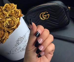 black nails, nails, and fashion image