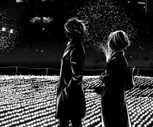 black and white, couple, and manga image