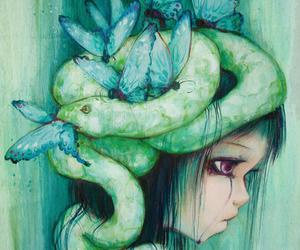 blue, girl, and snake image