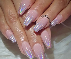 nails, pink, and holographic image